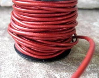 Metallic Leather Cord 2MM Cherry Red 6 Yds Jewelry Craft Lace Supply Sale