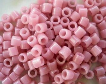 Pink Tile Bead Large Hole Rose  Fits Leather Native American Style Jewelry Craft 100  Pieces