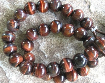 Large 4MM Hole Red Tiger Eye Bead Big 12 MM Round Beads Qty 9