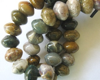 Large Hole Ocean Jasper Rondelle 12MM 12 Big Hole Beads Fit Leather