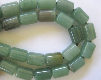 Large Hole Bead Aventurine 10x14MM 10 Green Barrel Beads Fit Leather