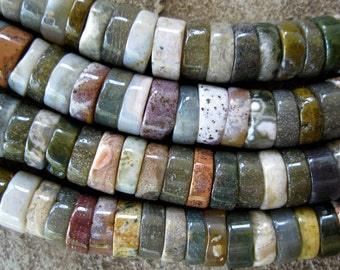 Heishi Large Hole Bead Ocean Jasper approx. 44 Big Hole Beads For Leather