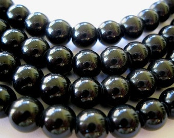 Large Hole Bead Black Obsidian 12 MM Round 17 Beads Fit Leather 2.5 mm hole