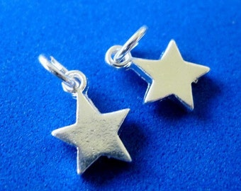 4 Star Charms 12MM Silver Plated Pewter No Lead No Nickel