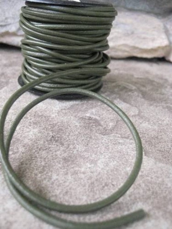 Earthy Khaki 2MM Leather Cord  Unisex Green Jewelry Lace 4.5 Yard