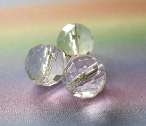 Rock Crystal Beads Natural Quartz  Faceted Round 12MM 3 Pieces