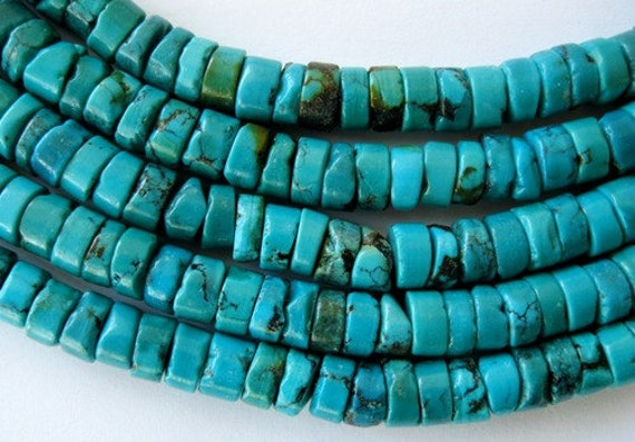 """5-5.5 MM genuine Turquoise Beads Heishi Blue Green Natural Stabilized  15.5"""" Strand"""