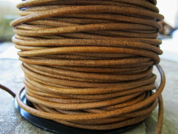 3 mm Leather Cord Natural Western Brown Round Lace 2 Yd
