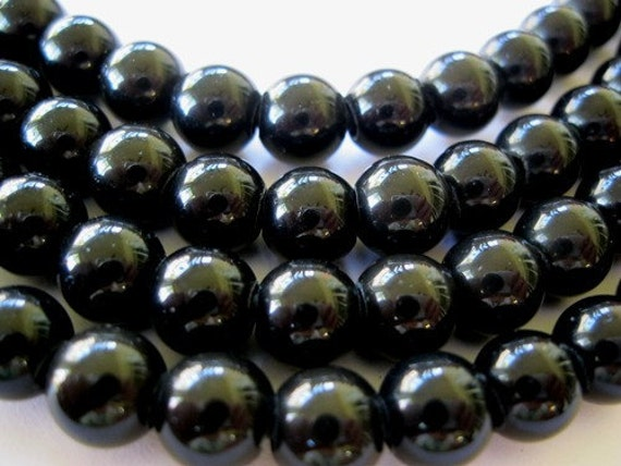 Large Hole Bead Black Obsidian 8MM Round 24 Beads Fit Leather