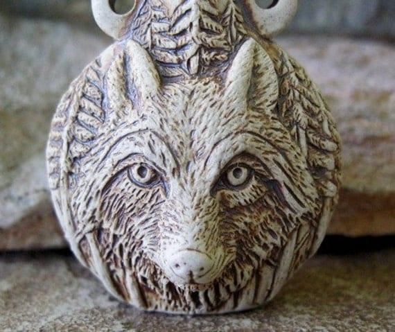 Wolf Pendant Bottle Bead High Fired Ceramic Vessel Totem