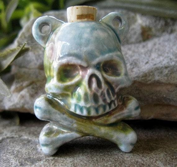 Skull Crossbones Vessel  Pendant Raku Fired Pirate Bottle