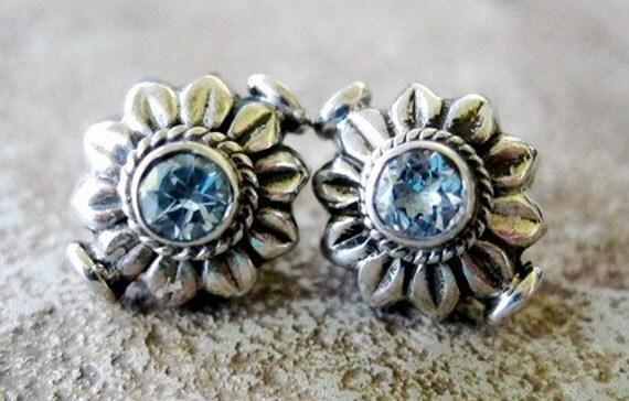 Blue Topaz Flower Bead Sterling Silver 14mm 2 Beads Sale