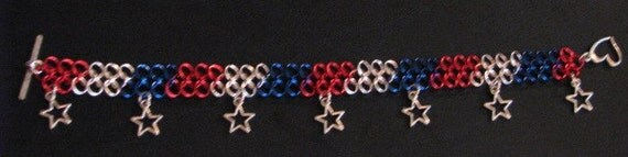 Red Silver and Blue Star independence Patriotic holiday america chain mail maille charm bracelet