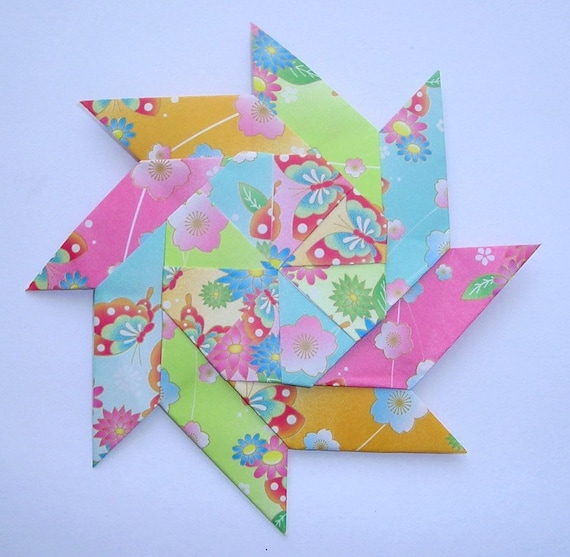 bright flowers and butterflies origami pinwheel