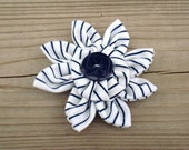 Handmade Flower with Navy Blue Logo Girl Guide Button and Vintage GGC Striped Uniform Fabric