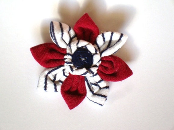 Handmade RANGERS Red Flower with Centre Girl Guide Button and Vintage GGC Striped Uniform Fabric