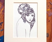 Fine art print with hand-applied acrylic detailing (Girl Looking Over Shoulder)