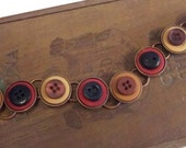 Amazing Rust, Black, Brown Button Bracelet On Copper Base