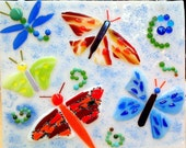 Butterflies and a Dragonfly - Fused Glass