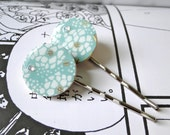 Mint Hair pins Japanese Chiyogami Paper and Swarovski Rhinestones
