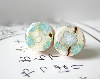 Turquoise Ear Studs, Cherry Blossoms, Branches, Japanese Paper Earrings, Washi, Chiyogami, Gift under 10, PrettyKiku, Stud Earrings, Sakura
