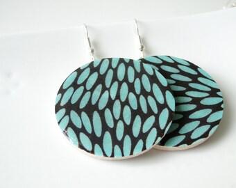 Turquoise and Black Earrings, Geometric Pattern, Geometric Earrings, Japanese Washi and Wood, Gift under 20