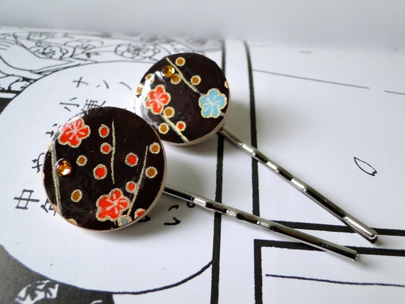 Brown Hair pins Japanese Chiyogami Paper and Swarovski Rhinestones