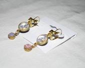 Acrylic Rivoli & Glass Fire Opal Earrings - Shabby Chic - Rustic Earrings - Brass Bows