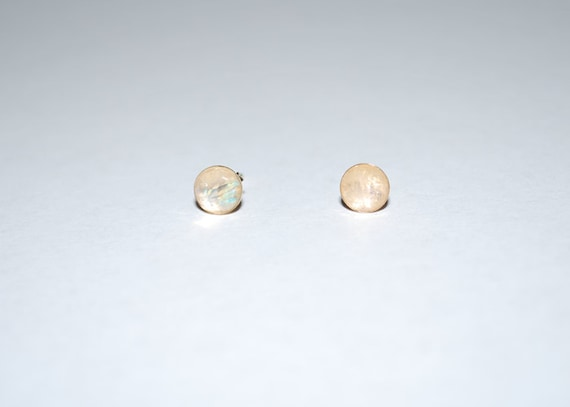 Faceted Rainbow Moonstone Earring Studs 14k Gold Filled - Minimal Earrings - Post