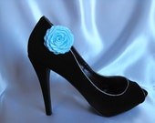 Handmade rose shoe clips in light blue