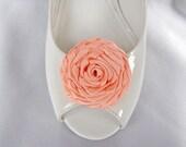 Handmade rose shoe clips in peach