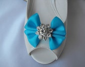 Handmade bow shoe clips with rhinestone center bridal shoe clips wedding accessories in turquoise blue