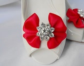 Handmade bow shoe clips with rhinestone center bridal shoe clips wedding accessories in red