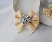 Handmade bow shoe clips with rhinestone center bridal shoe clips wedding accessories in gold