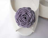 Handmade rose shoe clips in lilac purple