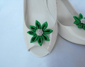 Handmade flower shoe clips with rhinestone center bridal shoe clips wedding accessories in emerald green
