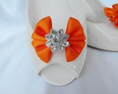 Handmade bow shoe clips with rhinestone center bridal shoe clips wedding accessories in orange