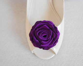 Handmade rose shoe clips bridal shoe clips wedding accessories in purple