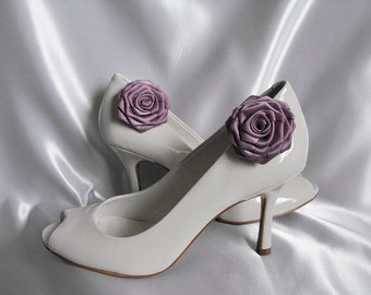 Handmade rose shoe clips in mauve