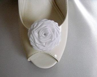Handmade rose shoe clips in white