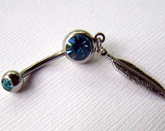 Belly Ring Bellybutton Ring Blue Feather Jewelry Eyebrow Piercing Body Jewelry