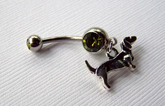 Dachshund Jewelry Dachsund Necklace Hot Dog Weiner Doxie Dog Jewelry Belly Ring Bellybutton Body Jewelry
