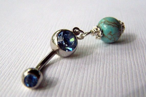 Belly Ring Bellybutton Ring Navel Piercing Body Jewelry Turquoise Jewelry Blue Jewelry