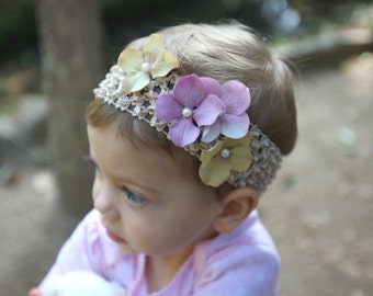 Waffle Headband with Hydrangeas and Faux Pearls Centers
