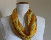 Vintage Silk Vera Scarf Cowl/Round  Yellow and Orange