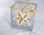 Glass Flower Vase Embellished with Seashells