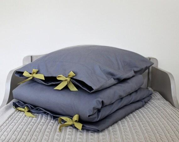 Toddler Bedding Set - solid, vintage-washed grey