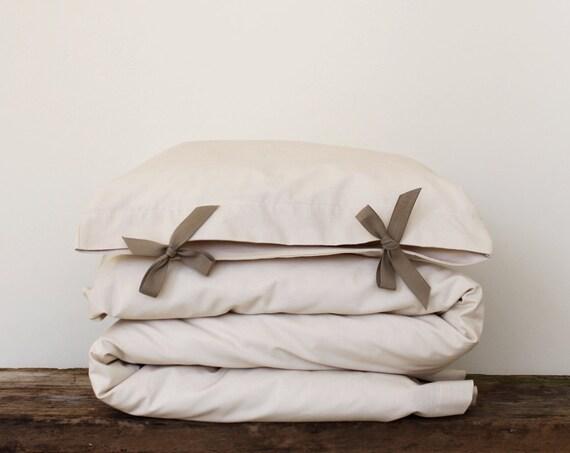 Toddler Bedding set - solid ivory cotton