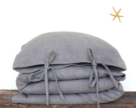 Toddler Bedding set - European Linen Fabric Oatmeal (mustard yellow stars embroidery)