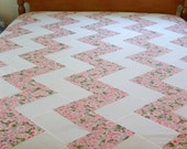 SUMMER SALE QUILT Top Cherry Blossom Chevron Quilt Top Twin Size Made in the usa